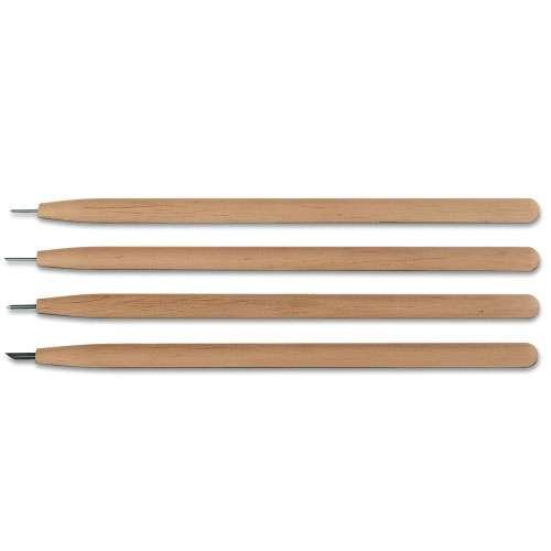 Pointe sèche large avec manche en bois