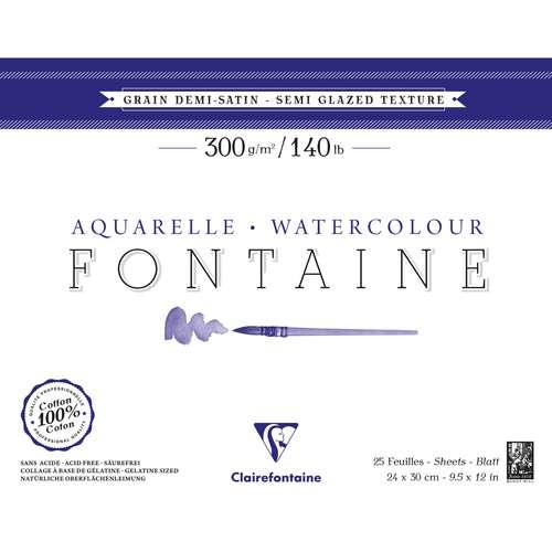 Papier Aquarelle Fontaine Clairefontaine (Grain Demi-Satiné)