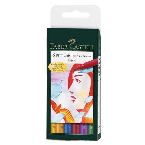 Eui de 6 feutres Pitt de couleur Faber-Castell