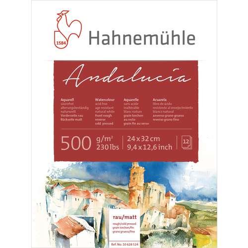 Bloc aquarelle Andalucia 500 - 12 feuilles - 500g/m²