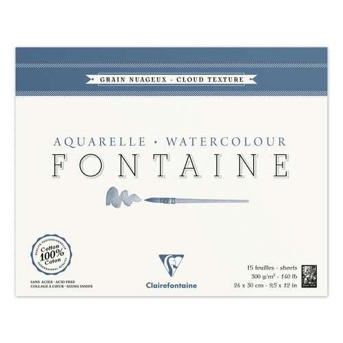 Bloc Aquarelle Clairefontaine 300g/m² (Grain Torchon Nuageux)