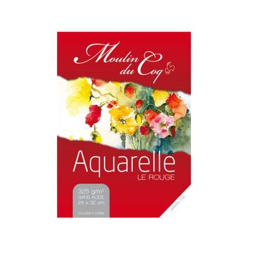 Bloc de 12 feuilles de papier aquarelle Moulin du coq - Le Rouge