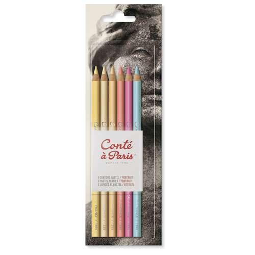 Set Portrait de 6 crayons pastels Conté à Paris