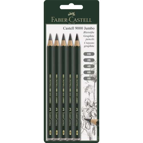 Lot de 5 crayons Castell 9000 Jumbo