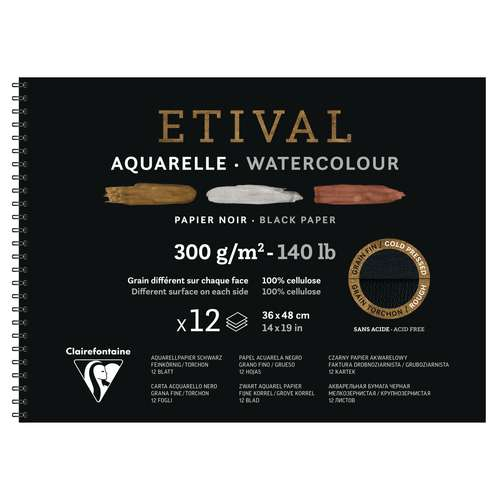 Papier aquarelle Etival noir Clairefontaine - 300g/m²