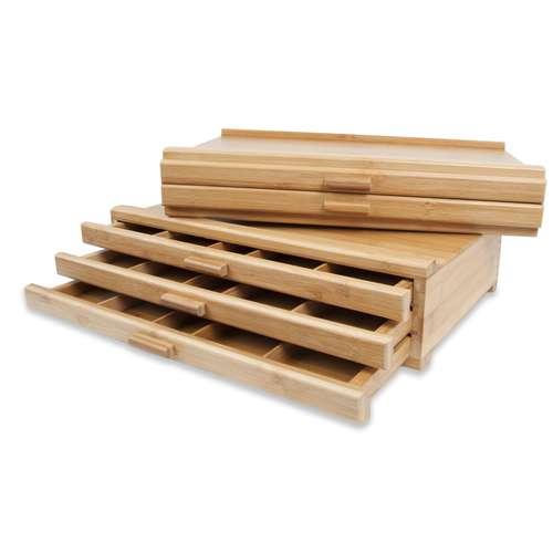 Coffret bois vide en bambou pour pastels