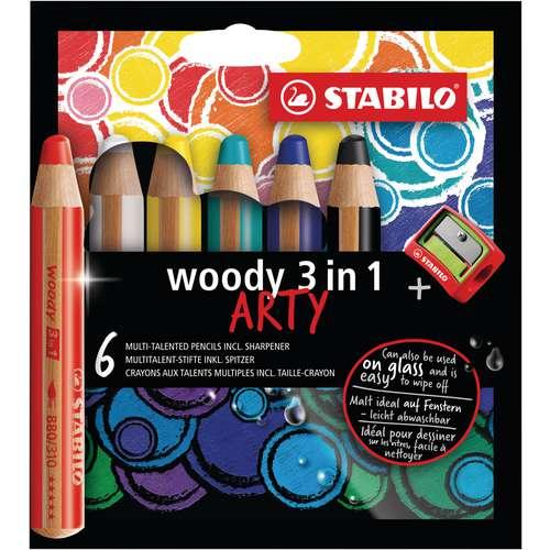 Sets de crayons Stabilo® woody 3 en 1, avec taille-crayon