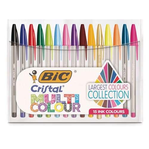 Lot de 15 stylos Cristal Bic - couleurs assorties