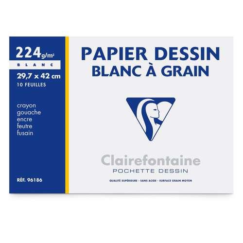 Pochette papier dessin à grain Clairefontaine