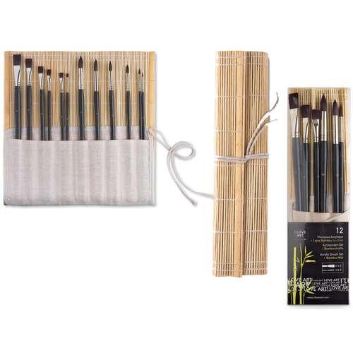 Lot de 12 pinceaux + tapis bambou I Love Art