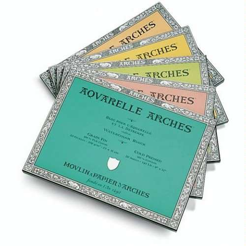 Bloc de papier aquarelle coton Arches 185g/m²